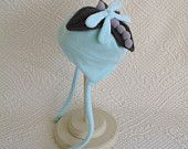 Babys light teal  fleece tie hat with attached dragonfly silly top