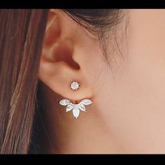 Ear Cuff Clip Leaf Stud piercing earring New Zircon Crystal Fashion Ear Cuff Clip Leaf Stud piercing earrings.  Color rose gold.  Please use or for her and for any offers❗️ Accessories Phone Cases