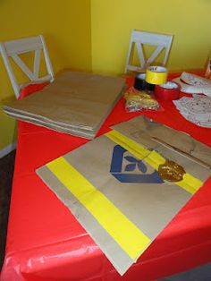 Birthday We used grocery sacks and duct tape to make firefighter vests at our fireman party! (craft idea for party! Fireman Party, Firefighter Birthday, Fireman Sam, 3rd Birthday Parties, 4th Birthday, Birthday Ideas, Fireman Crafts, Paw Patrol Party, Party Time