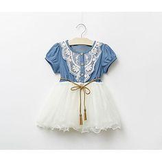 2015 filles de la mode denim robe enfants manches courtes robes de princesse fille vêtements d'été robes occasionnels - EUR € 12.27