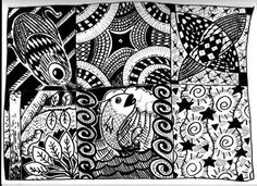 Gwy Zendoodle 02 -Relaxing - Zentangle Pattern Designs: Relaxing - Zentangle Pattern Designs  Art Supplies Used UniPin 0,5 Tombow brush Black