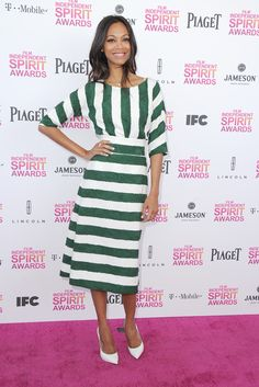 Zoe Saldana in #dolcegabbana Summer 2013 attends the 2013 Film Independent Spirit Awards at Santa Monica Beach on February 23, 2013