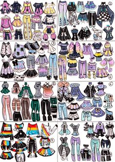 Closed- mini outfit mixandmatch by guppie-vibes on deviantar Fashion Design Drawings, Fashion Sketches, Art Sketches, Anime Outfits, Drawing Anime Clothes, Art Mignon, Clothing Sketches, Art Reference Poses, Drawing Challenge