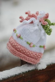 Childs Bonnet, Knit Hat, Baby Girl Hat Bobbles and Embroidered Flowers Winter Hat Toque Photo Prop Hat for Baby
