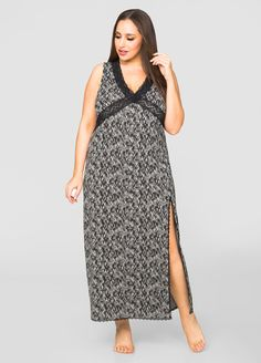 Front Slit Lace Maxi Nightgown - Ashley Stewart