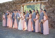 Peach bridesmaid dresses with gray suits for the guys