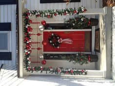 Porch Christmas ideas  Would look great on my front porches!!