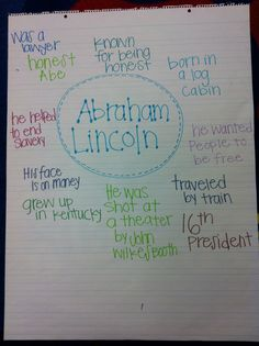 Lincoln- circle map and link to great unit on Presidents Day- could connect this to my informational reading and the smartboard