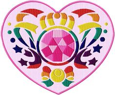 """[Single Count] Custom and Unique (5"""" x 6"""" Inches) Large Sailor Moon Naoko Takeuchi Crystal Heart Locket Iron On Embroidered Applique Patch {Pink, Green, Yellow and Red Colors}"""