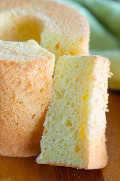 Orange chiffon cake, ready to serve. Orange Chiffon Cake, Rasa Malaysia, Sponge Cake, How To Make Cake, Allrecipes, Cornbread, Vanilla Cake, Cake Recipes, Tasty