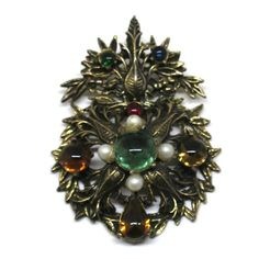 Pearl Brooch - Victorian Style, Gold Tone, Green and Red Cabochons, Dangle, Faux Pearl Pendant, Pin by MyDellaWear on Etsy $32