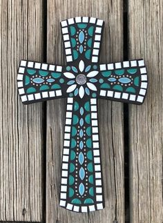 Your place to buy and sell all things handmade Crosses Decor, Wood Crosses, Mosaic Crafts, Mosaic Projects, Cover Pics For Facebook, Cross Love, Mosaic Vase, Stained Glass Angel, Mosaic Crosses