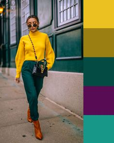 Colour Combinations Fashion, Color Combinations For Clothes, Color Blocking Outfits, Fashion Colours, Colorful Fashion, Color Combos, Color Schemes, Stylish Outfits, Fashion Outfits