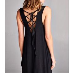 Lace Up Back Black Dress