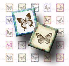 INSTANT DOWNLOAD  Butterflies on Plaid Scrabble by katypixels, $3.25