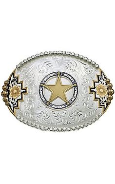 6518c994c5a Montana Silversmiths Two-tone Southwestern Accent Belt Buckle with Round  Star Concho 3.1 4