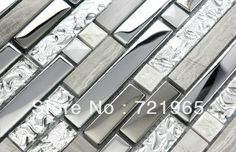 Grey stone blend stainless steel glass mosaic tile SSMT001 stainless steel backsplash kitchen tiles stone glass mosaic $240.96