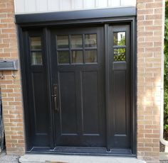 Black fiberglass craftsman style entry door Black Exterior, Exterior Doors, Black Entry Doors, Craftsman Style Doors, Fiberglass Entry Doors, Fall River, North York, Front Door Design, Farmhouse Front