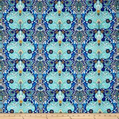 Studio KM Persia Persian Damask Lapis from @fabricdotcom  Designed by Studio KM for Free Spirit, this cotton print fabric features vibrant colors and a detailed design for an ornate feel. Perfect for quilting, apparel and home decor accents. Colors include black, white, green, pale yellow, yellow and shades of blue.