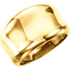 14 KT Yellow Gold Polished Heavy Concave Design Wide Cigar Band Ring NEW #CigarBand