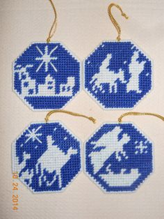 Silhouette Ornaments Set of 4 in Plastic canvas by SpyderCrafts