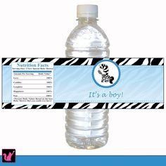 Blue Zebra Baby Shower Birthday Bottle Label