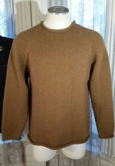Men's American South Side Alpaca Wool Brown Sweater Made in Peru thick rolled L