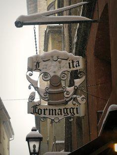 Per la strada...formaggi/Cheese shop sign Bologna, Italy