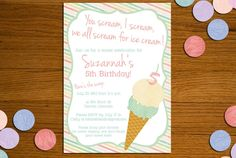 Patterned Ice Cream Printable Invitation - Birthday, Bridal Shower, Baby Shower. $15.00, via Etsy.