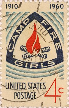 USA, 1960. Stamp honoring 50 years of Camp Fire Girls organization. Camp Fire, formerly Camp Fire USA, originally Camp Fire Girls of America, is a secular co-ed inclusiveness Scout-like organization. Camp Fire was the first nonsectarian, multicultural organization for girls in America. Its programs emphasize camping and other outdoor activities for youth.