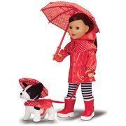 "My Life As Playing in the Rain Set by Walmart. $33.45. Doll not included. My Life As Playing in the Rain Set for 18"" Doll. Includes: Umbrella, Raincoat for your doll, Plush dog with coat, Rainboots, Polka dot leggings. This Playing in the Rain Set comes with everything your little girl will need for her doll to have a fun day in the rain. This set even includes an adorable plush dog with a matching raincoat."