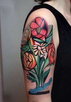 New Cubist Tattoos by Peter Aurisch  http://www.thisiscolossal.com/2015/09/new-cubist-tattoos-by-peter-aurisch/
