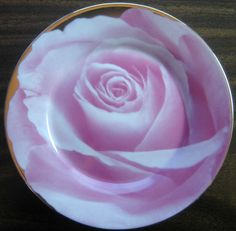 Decorative Dishes - Pink Photographic Rose Bud Shiny Gold Trim Plate, $19.99 (http://www.decorativedishes.net/pink-photographic-rose-bud-shiny-gold-trim-plate/)