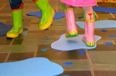 Indoor Puddle Jumping - creative play idea