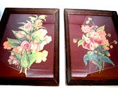 Art Deco Pair Floral Prints In Frame By Georgia B. Caldwell with Dark Plum Background