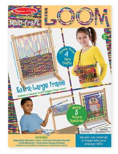 Melissa & Doug Multi-Craft Weaving Loom, Youngsters will be thrilled to get creating with this Multi-Craft Weaving Loom from Melissa & Doug. With its easy-to-use adjustable frame, oversize wooden needle and generous 91 yards of rainbow yarn,. Loom Yarn, Loom Weaving, Arts And Crafts For Adults, How To Make Scarf, Art And Craft Videos, Booklet Design, Art Textile, Melissa & Doug, Craft Free