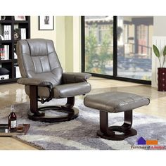 Furniture of America 'Chester' Grey Swivel Lounger Chair with Ottoman - Overstock Shopping - Big Discounts on Recliners