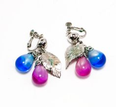 Vintage Napier Earrings Dangling Blue and by VintageMeetModern