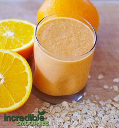 Orange-Carrot Smoothie Recipe with Pear and Oats  1 medium carrot, chopped 1 orange, peeled and seeds removed  1 pear, cored 1/4 cup dry old...