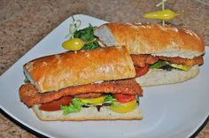 Shawna's Food and Recipe Blog: Cajun Turkey Tender Schnitzel with Heirloom Tomatoes and Alien Honey Mustard on an Herbs de Provence Hoagie R...
