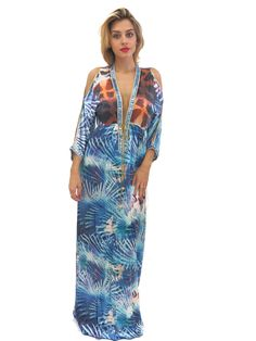 ace15f2dee9 Baccio Couture Shy Silk Maxi Dress Blue Giraffe Print