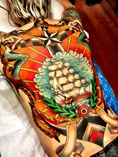 Let's go traditional - back piece done by Xam The Spaniard . He's currently tattooing in London. #tattoo #tatttoos #ink