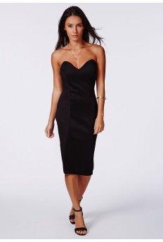 Matilde Bandeau Bodycon Midi Dress In Black