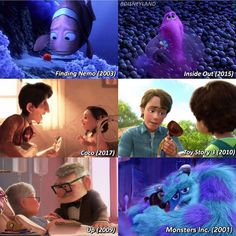 Up 2009, Finding Nemo 2003, Toy Story 3, Monsters Inc, Disney Pixar, Sad, Scene, Movies, Movie Posters
