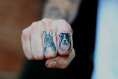 Frenchie and Boston Terrier finger tattoos