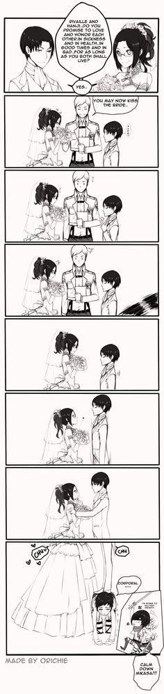 LeviHan: Just Married. Nice job, Levi! Now Mikasa wants to kill you XD