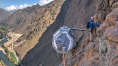 Skylodge - The coolest hotel in the world  Climb straight up a cliff in Peru's Sacred Valley to the Skylodge Adventure Suites, one of the world's coolest hotel experiences. The space-age capsule suite...
