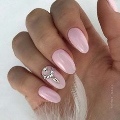 Stylish Light Pink Nails with Rhinestones