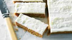 Merle Parrish's Coconut Slice - This delicious slice makes good use of the crunchy desiccated coconut siting in your pantry and is so easy to create Oat Slice, Coconut Slice, Jelly Slice, Vanilla Shake Recipes, Chocolate Caramel Slice, White Chocolate, No Bake Slices, Healthy Snacks To Make, Recipes