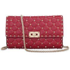Valentino Rockstud Spike Leather Shoulder Bag - Red $1158.99
